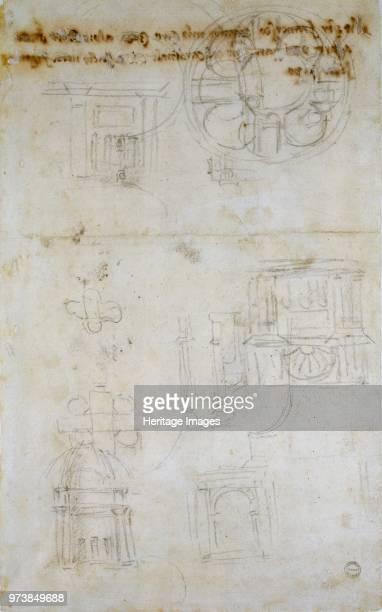 Sketch showing the Join of the Lantern and Cupola and other Studies for St Peter's circa 14901560 Verso Sketch showing the Join of the Lantern and...