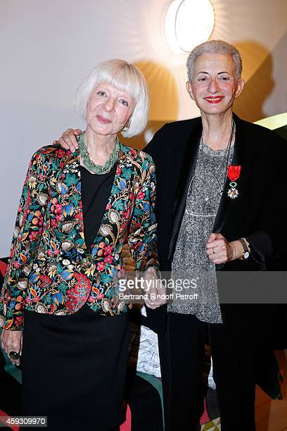 Rector of the academic agency of 'Francophonie' Michele GendreauMassaloux and Literary criticism Helene Cixous attend Helene Cixous receives Insignia...