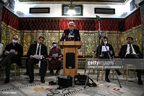 Rector of the Great Mosque of Paris Chemseddine Hafiz addresses a press conference called by several national Muslim federations at the Great Mosque...
