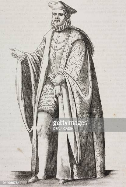 Rector of the Studium Patavinum in the 16th century lithograph by Gaetano Riccio from Poliorama Pittoresco n 39 May 4 1844