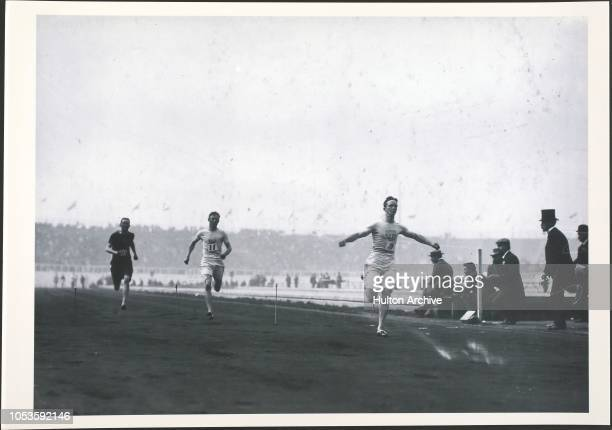 Rector of the USA wins the 3rd heat of the 100m semi final at the 1908 Olympics in London London England