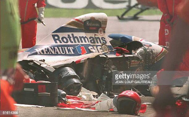 Recue crews inspect Ayrton Senna's car at the San Marino Formula one grand prix in a 01 May 1994 file photo Steering failure was blamed for the death...