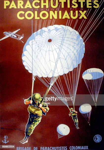 Recuiting poster for french colonial paratroopers, media coverage of the battle of Dien Bien Phu, 1954