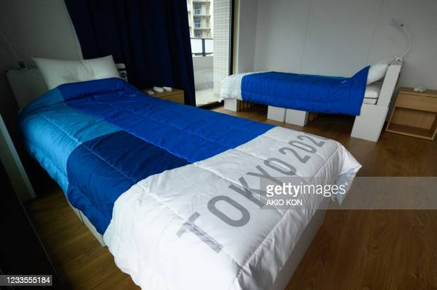 Recyclable cardboard beds and mattresses for athletes during a media tour at the Olympic and Paralympic Village for the Tokyo 2020 Games, is seen in...