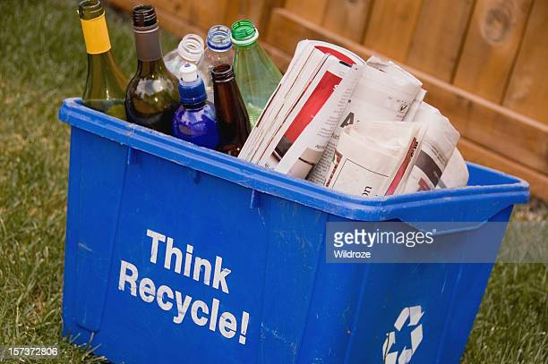 recycle blue box - glass magazine stock photos and pictures
