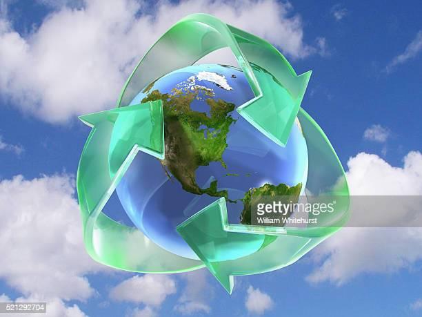 recycle globe - 廃棄物処理 ストックフォトと画像