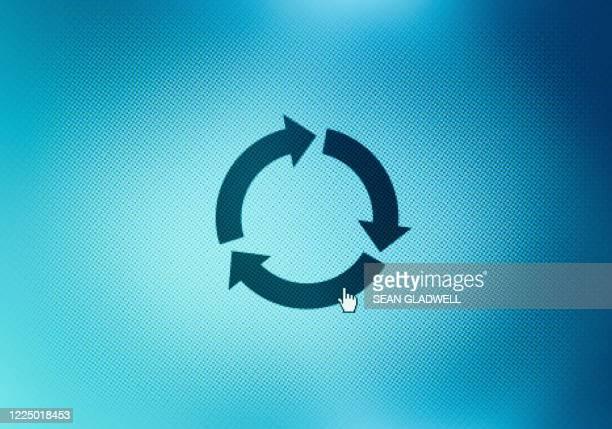 recycle icon on screen - 回転する ストックフォトと画像