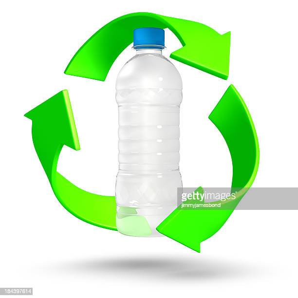 Recycle plastic water bottle with 3-dimensional arrows