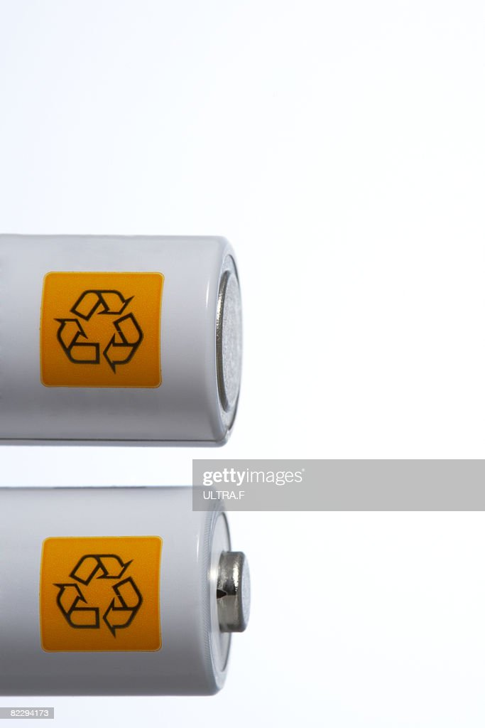 Recycle signs on battery : Stock Photo
