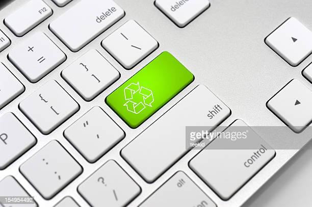 Recycle symbol on a Computer keyboard-Environment Protection Concept