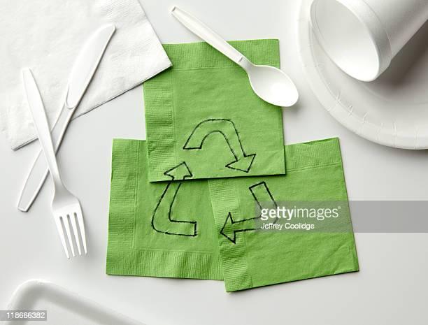 Recycle Symbol on Napkins