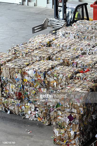 Recycled cardborad packaging compacted at the Selective Treatment Plant and Waste Recovery in Coueron near Nantes France