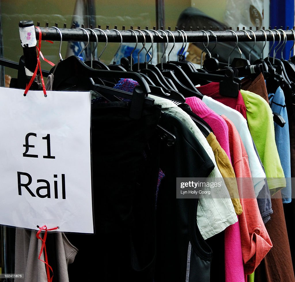 Recycled clothes for sale in UK : Stock Photo