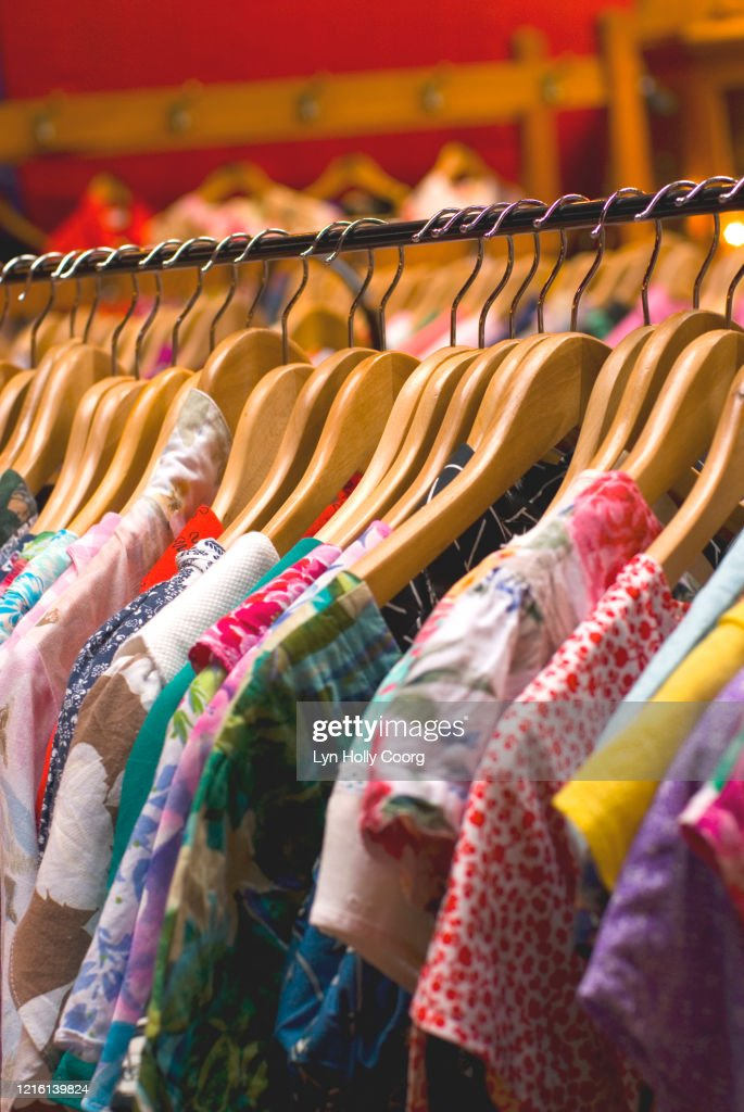 Recycled dresses for sale : Stock Photo