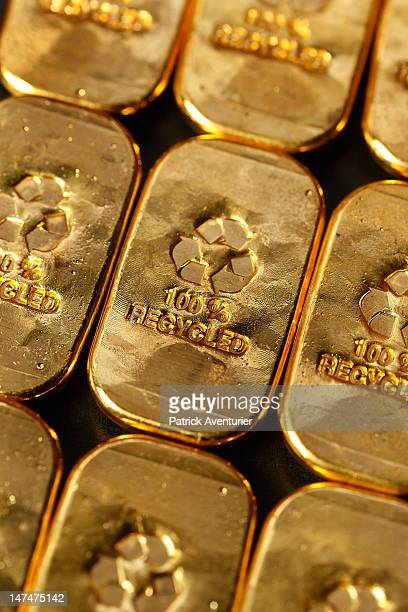 Recycled gold ingots are displayed at the workshop of 'Gold By Gold' on January 28 2012 in Paris France The company has developed a process for...