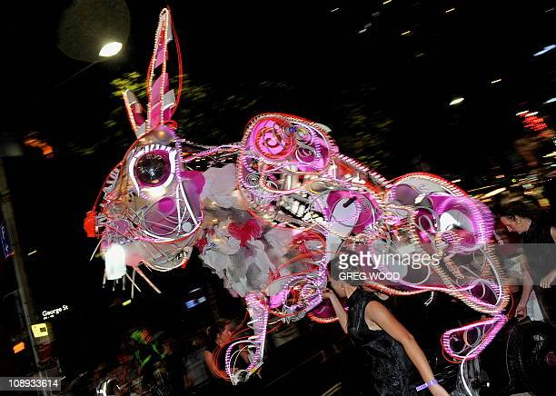 A recycled metal rabbit constructed from found and recycled materials and operated by eight puppeteers is displayed during the Lunar New Year Parade...