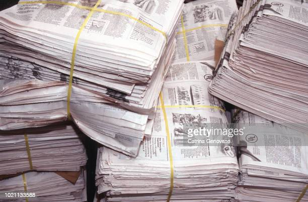 Recycled newspapers bundled for pick up on 42nd street, New York City, New York, USA
