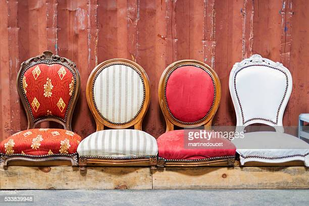 """recycled old chairs, espace darwin bordeaux, france. - """"martine doucet"""" or martinedoucet stock pictures, royalty-free photos & images"""