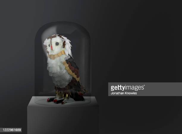 recycled owl sculpture - animal representation stock pictures, royalty-free photos & images