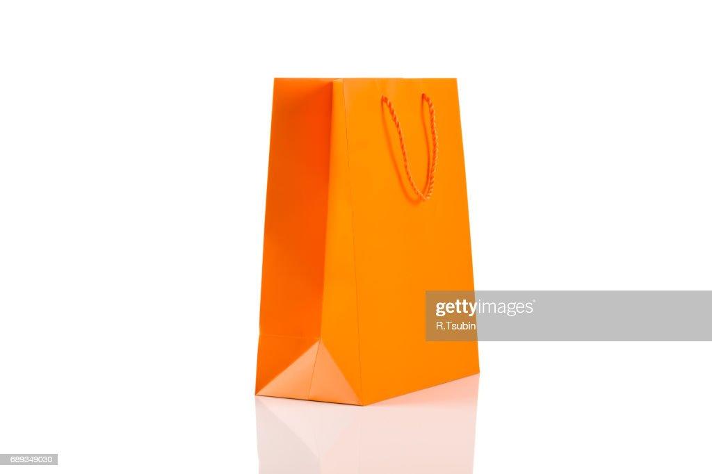 Recycled paper kraft shopping bag : Stock Photo