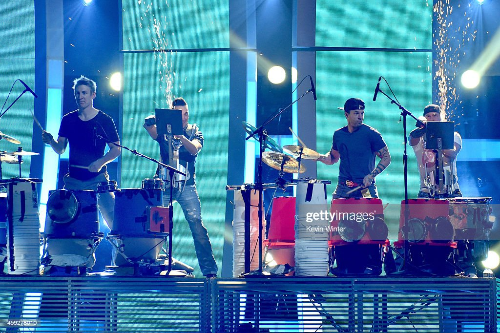 Recycled Percussion performs onstage during rehearsals for the 15th annual Latin GRAMMY Awards at the MGM Grand Garden Arena on November 19, 2014 in Las Vegas, Nevada.