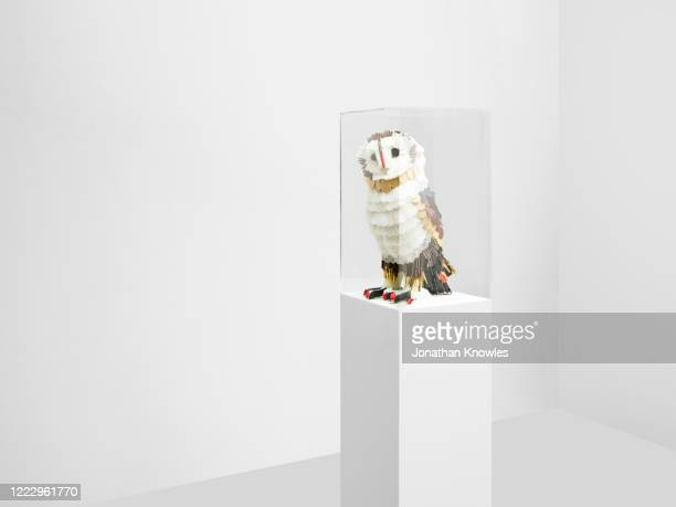recycled plastic owl sculpture - animal representation stock pictures, royalty-free photos & images