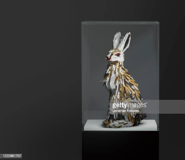 recycled plastic rabbit - animal representation stock pictures, royalty-free photos & images