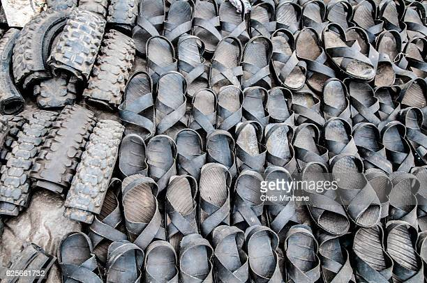 Recycled Tires made into Sandals in Kenya, Africa
