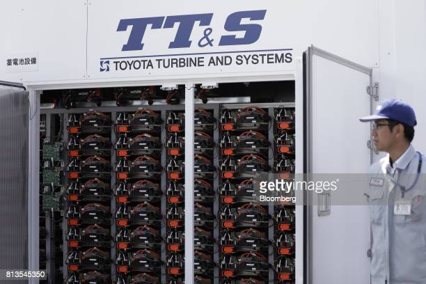 Recycled Toyota Motor Corp Prius batteries sit in a Toyota Turbine and Systems Inc storage battery system during a demonstration of a hydrogen supply...