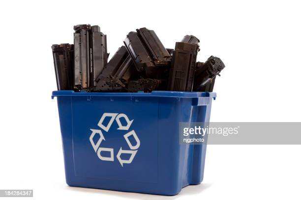 Recycling basket filled with printer cartridges