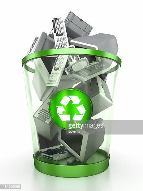 Recycling bin containing computer components