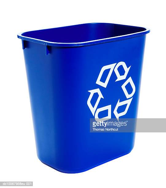 Recycling bin on white background