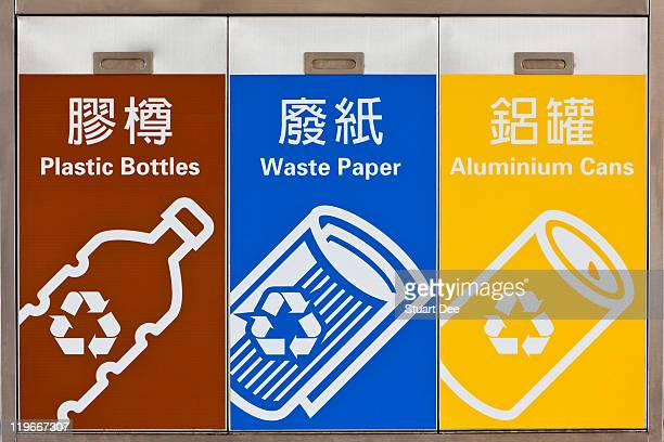 Recycling bin with Chinese and English signs,China
