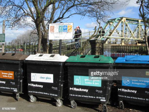 UK Recycling bins by the Leigh canal in Clapton London Photo © Julio Etchart CDREF00556