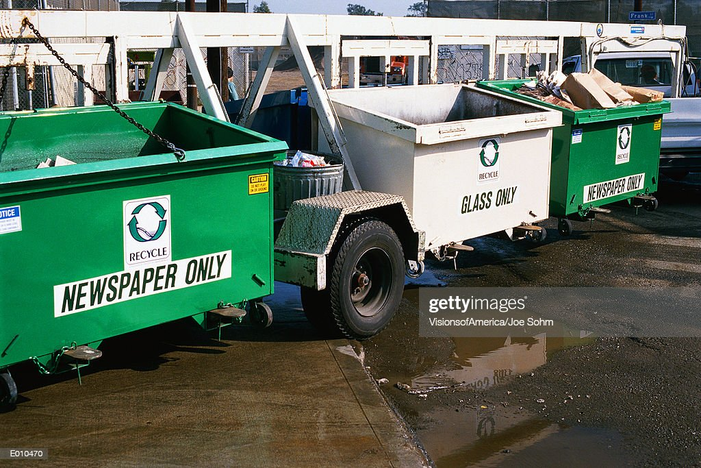 Recycling bins on wheels : Stock Photo