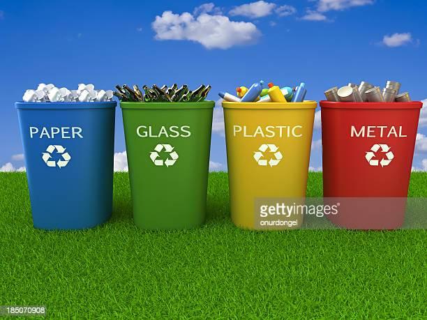 contenedores de reciclaje - recipiente fotografías e imágenes de stock