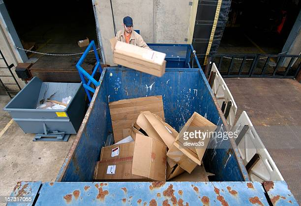 recycling cardboard boxes - garbage bin stock pictures, royalty-free photos & images