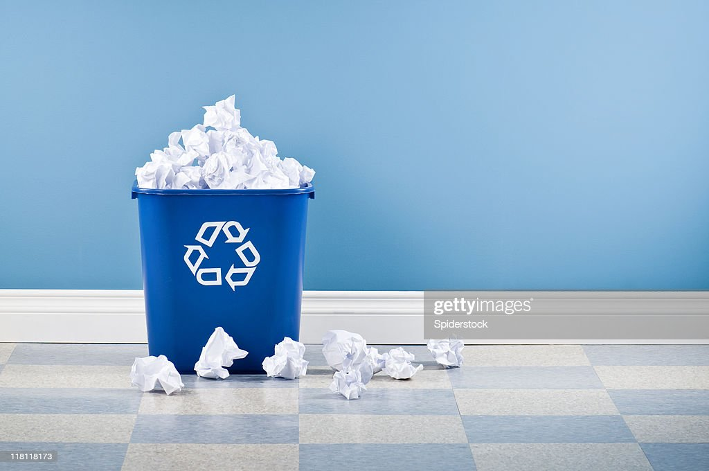 Recycling Container Full Of Paper : Stock Photo