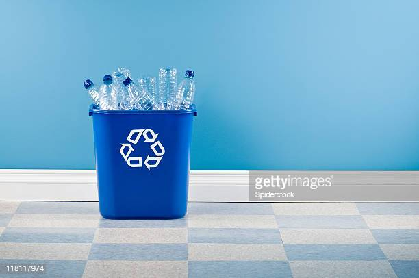 recycling container with plastic bottles - garbage bin stock pictures, royalty-free photos & images