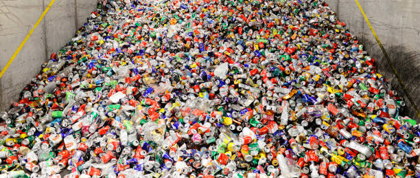Recycling drinks cans and plastic bottles