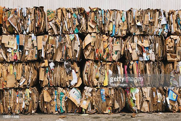 Recycling facility with bundles of cardboard sorted and tied up for recycling.
