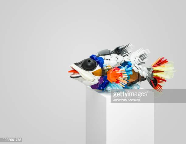 recycling gallery exhibition  - recycled plastic fish - extinct stock pictures, royalty-free photos & images