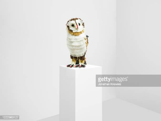 recycling gallery exhibition  - recycled plastic owl sculpture - extinct stock pictures, royalty-free photos & images