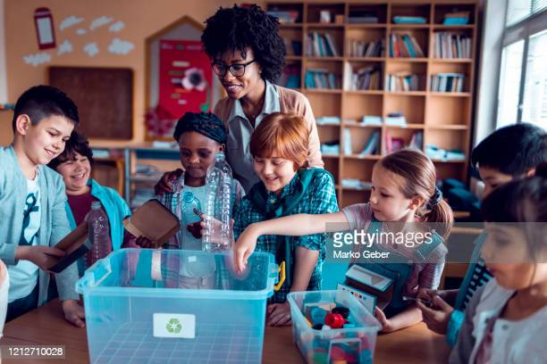 recycling in the classroom - education stock pictures, royalty-free photos & images