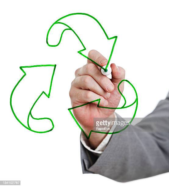 Recycling is good! Businessman's hand draws sign on whiteboard