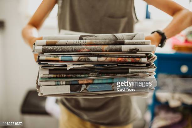 recycling newspapers - news not politics stock pictures, royalty-free photos & images