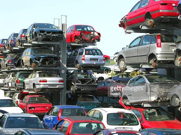 recycling of cars - junkyard stock photos and pictures