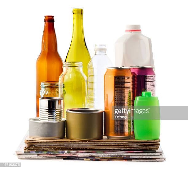 Recycling Packaging Material, Paper, Cardboard, Bottles, Plastic, Glass Cans