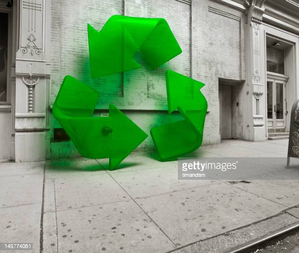 Recycling symbol in the street