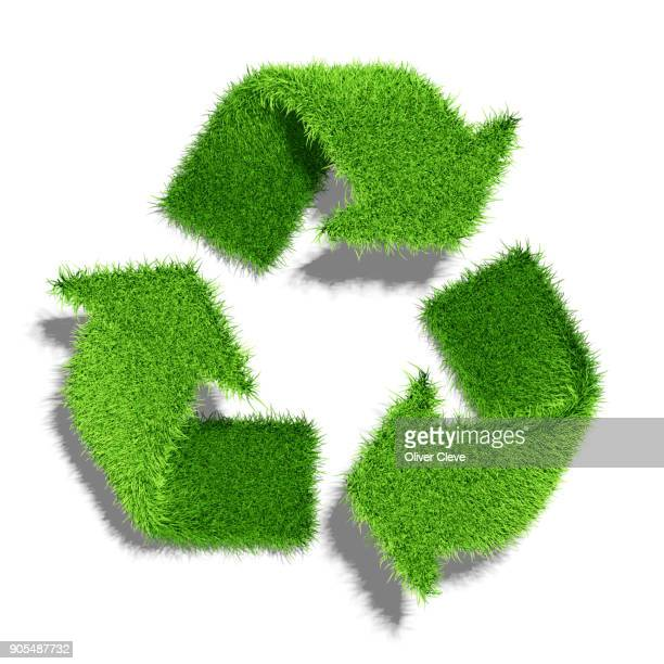 Recycling Symbol out of green grass